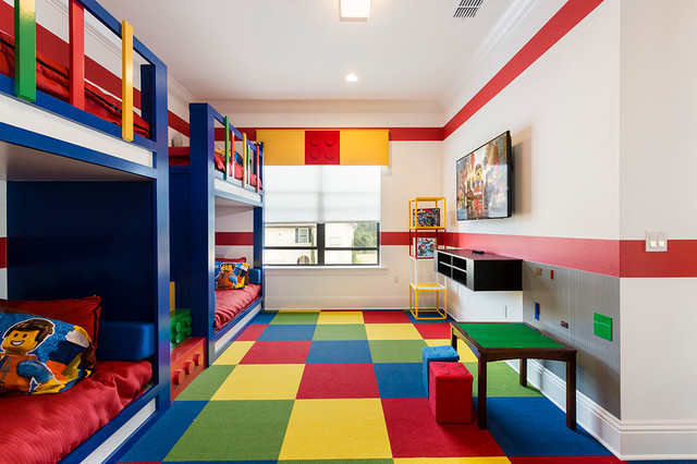 Example of a mid-sized trendy gender-neutral carpeted and multicolored floor kids' room design in Orlando with multicolored walls
