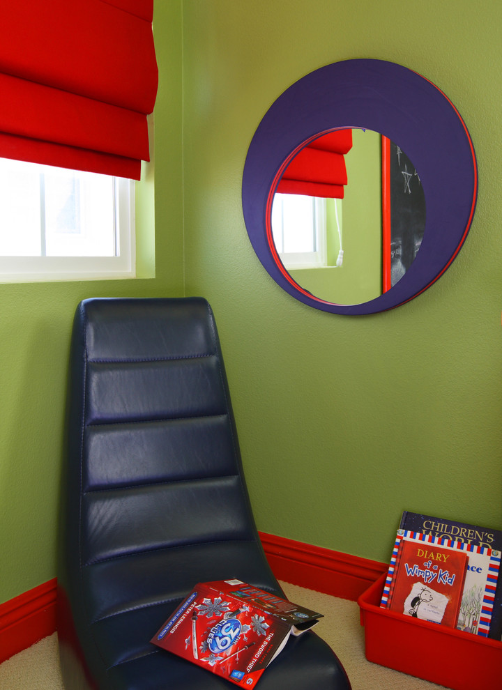 Trendy kids' room photo in Orange County with green walls