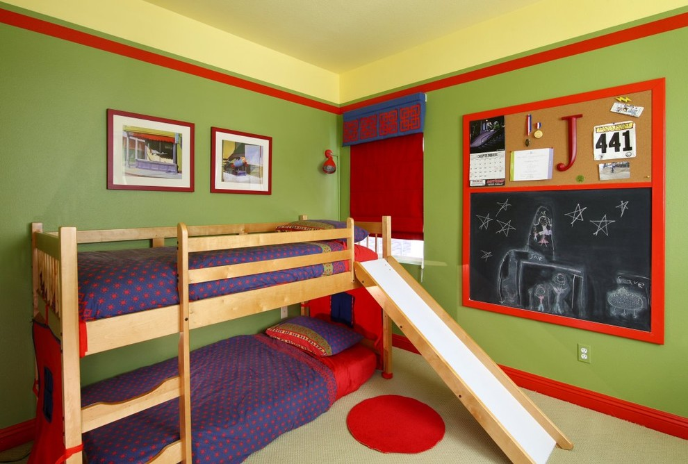 Kids' room - contemporary kids' room idea in Orange County with multicolored walls