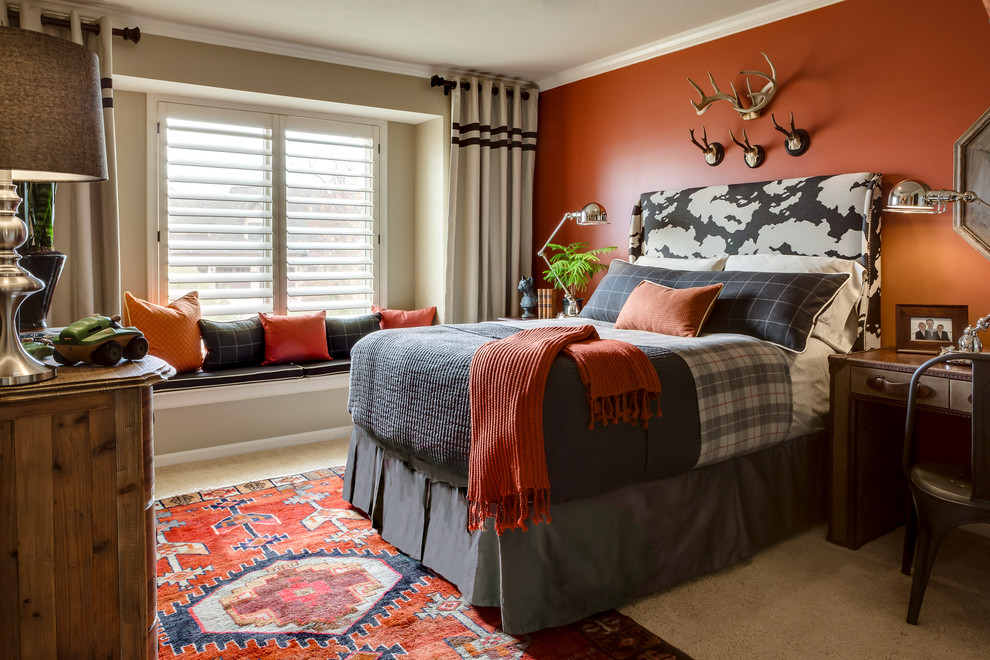 Kids' room - traditional gender-neutral carpeted and beige floor kids' room idea in Kansas City with multicolored walls