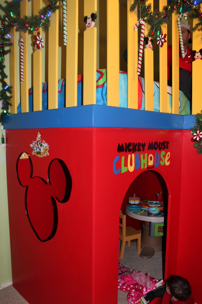 Example of a mid-sized trendy boy playroom design in Dallas with yellow walls