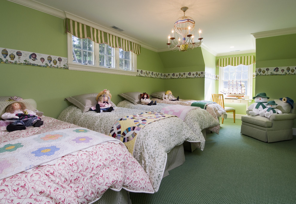 Kids' room - traditional girl carpeted kids' room idea in Bridgeport with green walls