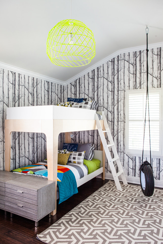Kids' bedroom - contemporary gender-neutral dark wood floor kids' bedroom idea in San Luis Obispo with multicolored walls