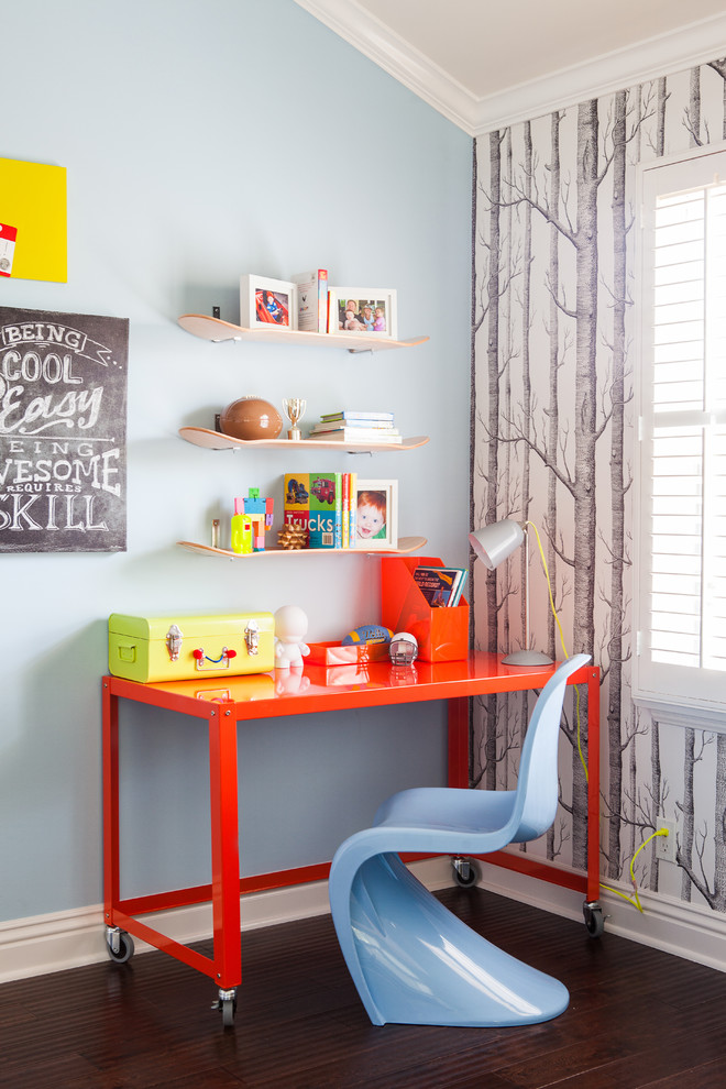 Kids' study room - contemporary gender-neutral kids' study room idea in San Luis Obispo with blue walls