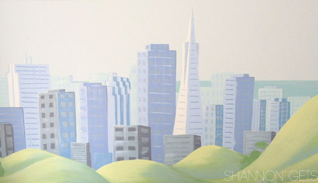 Cityscape mural with san francisco landmarks for Cityscape mural