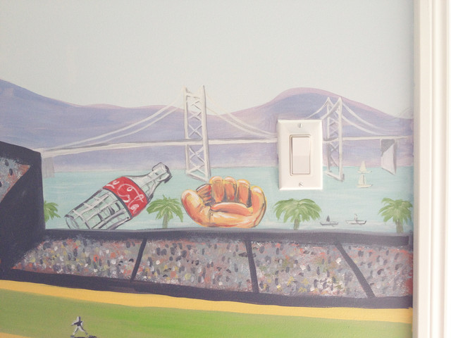 Cityscape mural with san francisco landmarks for City scape mural