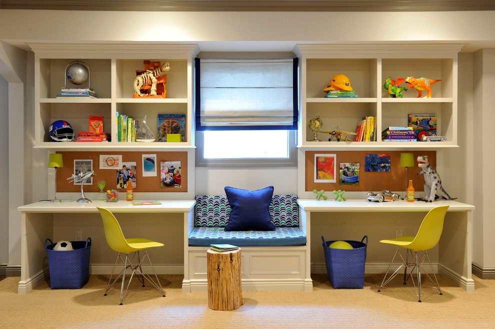 Kids' room - mid-sized transitional boy carpeted kids' room idea in Miami with beige walls