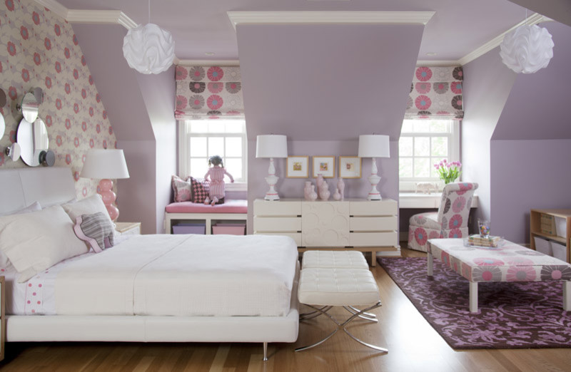 Large elegant girl light wood floor kids' room photo in Little Rock with multicolored walls