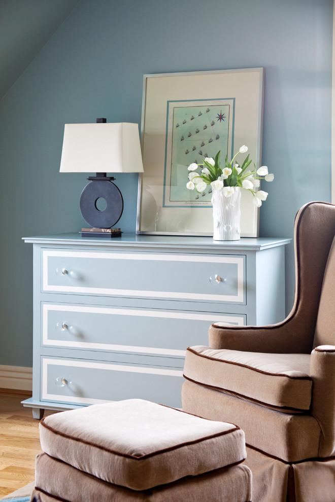 Large elegant boy light wood floor kids' bedroom photo in Little Rock with blue walls