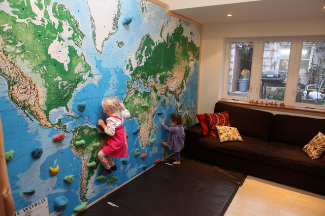 Climbing wall world map mural Eclectic Kids Seattle by 1