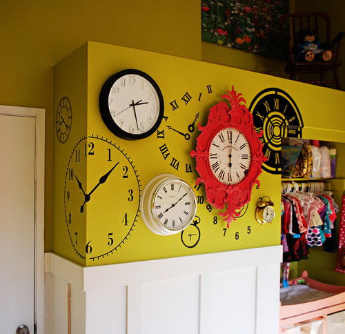 Clock Wall in Alice in Wonderland Nursery