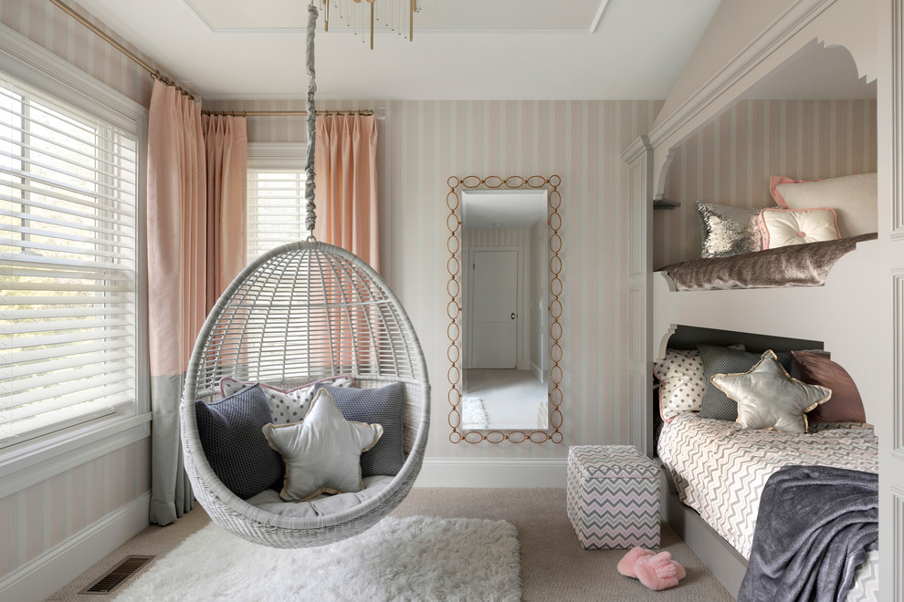 Example of a transitional girl carpeted and gray floor kids' room design in Minneapolis with pink walls