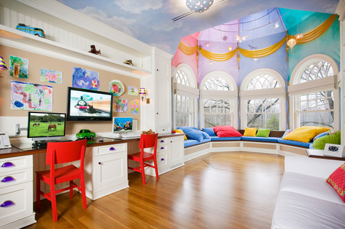 Bold and bright colors in a luxury child's bedroom with homework area