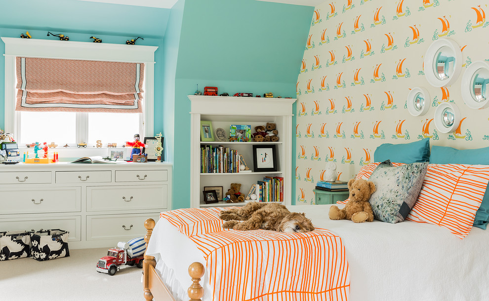 Transitional white floor kids' room photo in Boston with blue walls