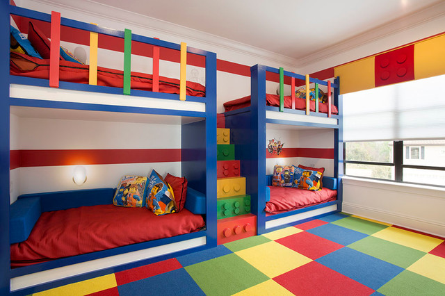 Large trendy gender-neutral carpeted kids' room photo in Orlando with white walls
