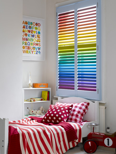 Bedroom plantation shutters contemporary kids for Kids bedroom window treatments