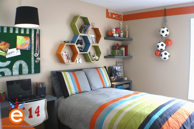 Soccer Boys Room Makeover contemporary-kids