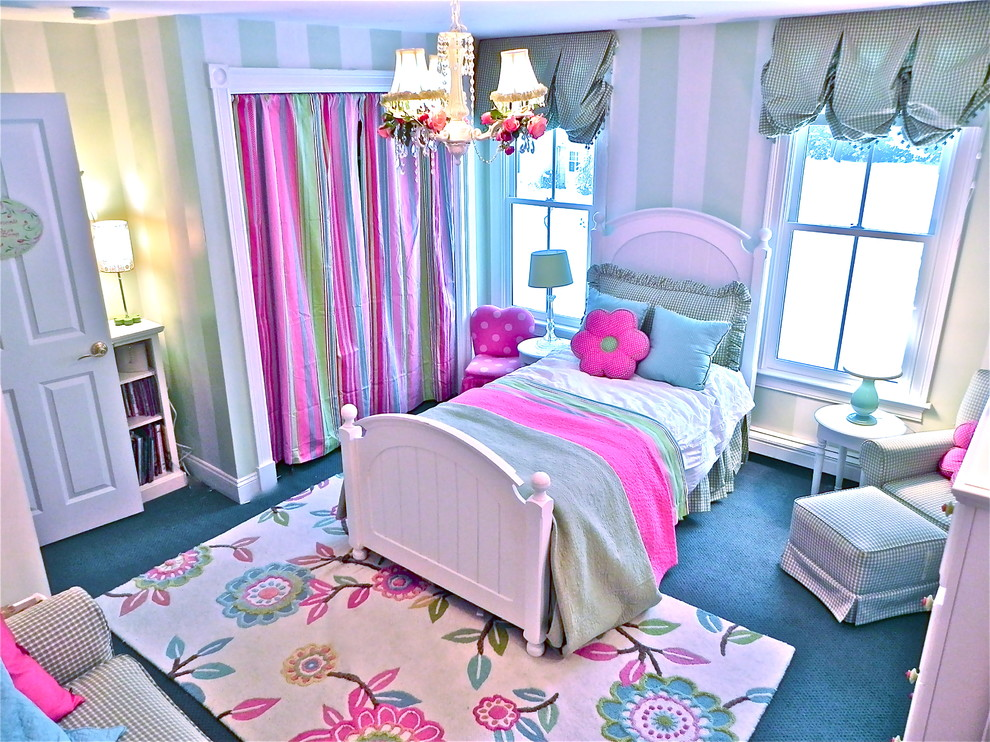 Kids' room - contemporary girl carpeted kids' room idea in Boston with multicolored walls