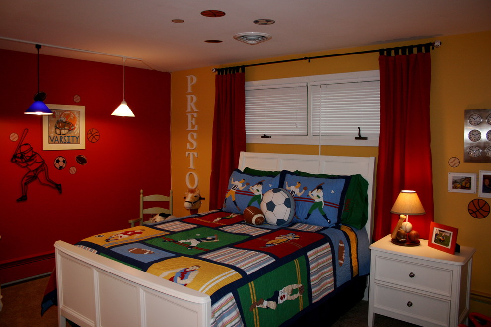 Kids' room - contemporary boy kids' room idea in New York with multicolored walls