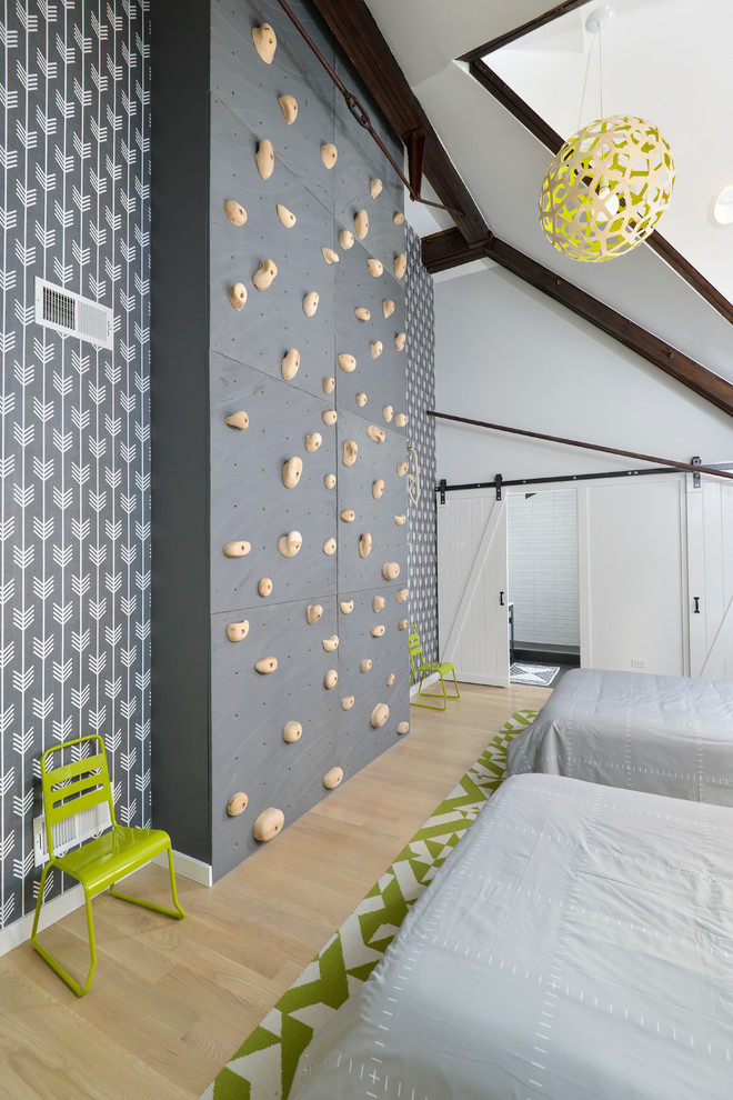 Inspiration for a contemporary gender-neutral light wood floor kids' bedroom remodel in Chicago with gray walls