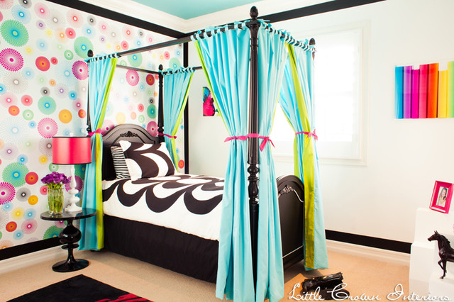Bed Curtains canopy bed curtains for kids : Blue, Green and Black Girl's Bedroom - Contemporary - Kids ...