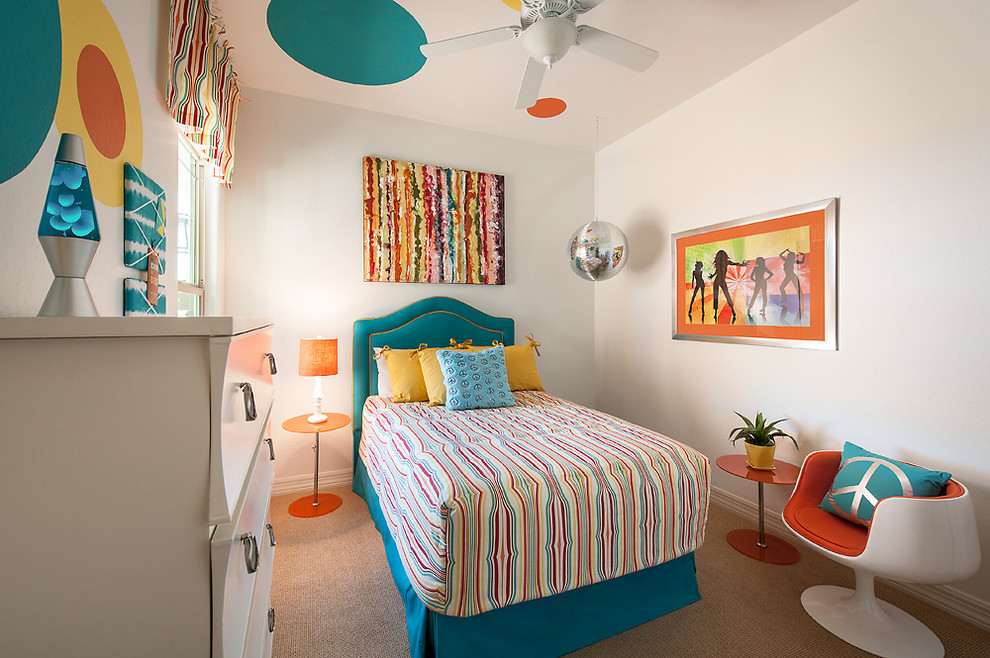 Inspiration for a contemporary girl carpeted kids' room remodel in Phoenix with white walls