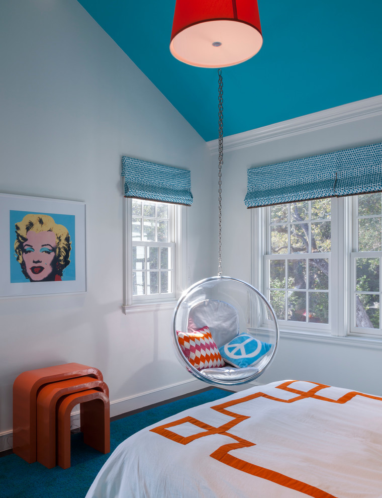 Example of a transitional teen room design in Other with white walls