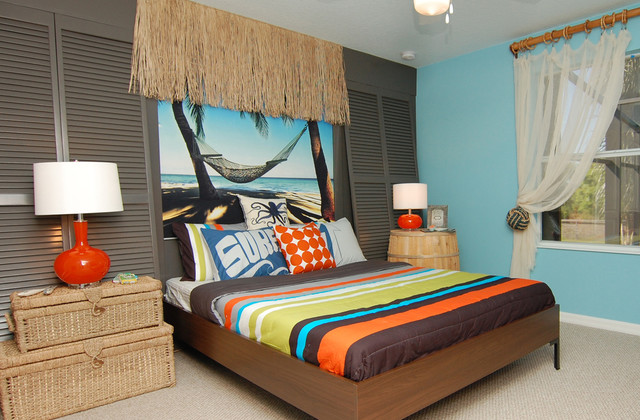 Surf inspired room for Surfboard decor for bedrooms