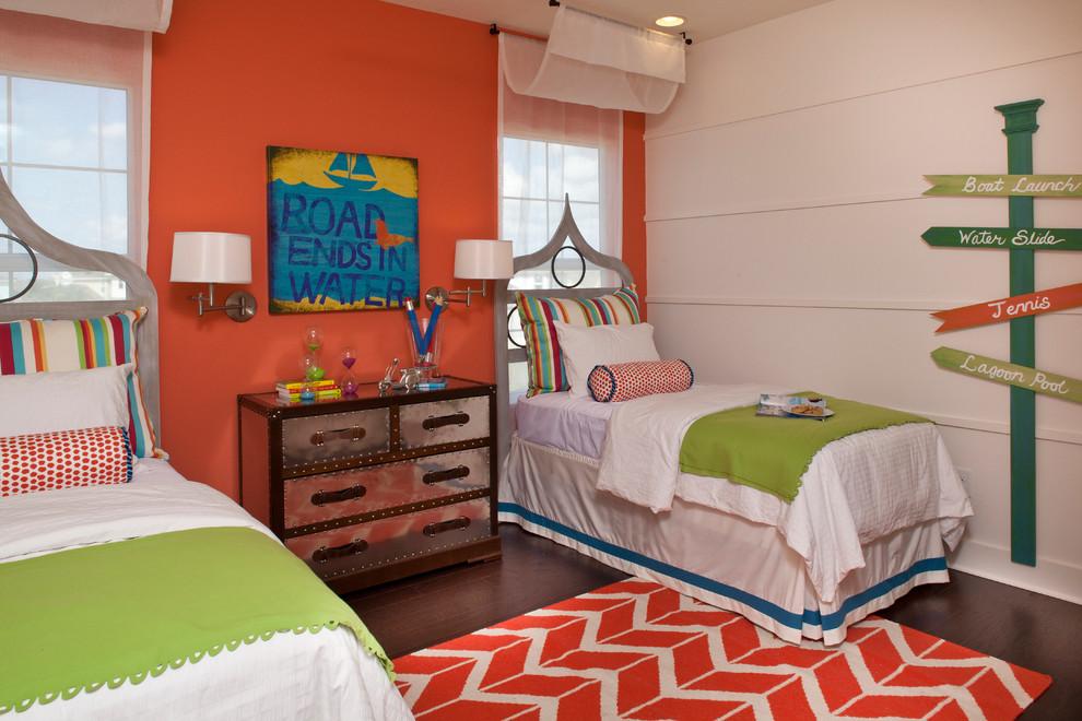 Trendy gender-neutral dark wood floor kids' room photo in Orlando with multicolored walls