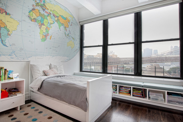 Contemporary loft interior design renovation kids bedroom dumbo
