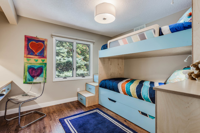 Example of a trendy kids' room design in Calgary