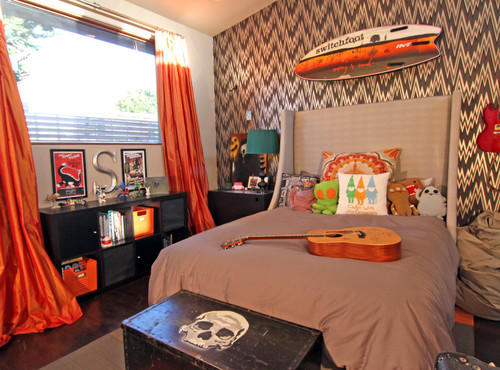 teen boy surfer room orange
