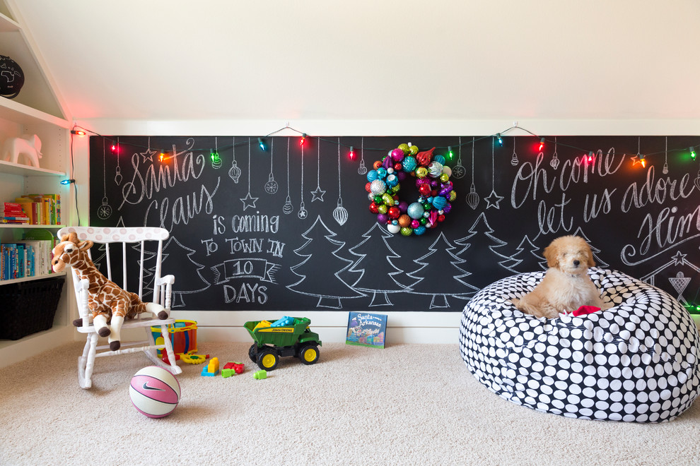 Playroom - mid-sized transitional gender-neutral carpeted playroom idea in Little Rock