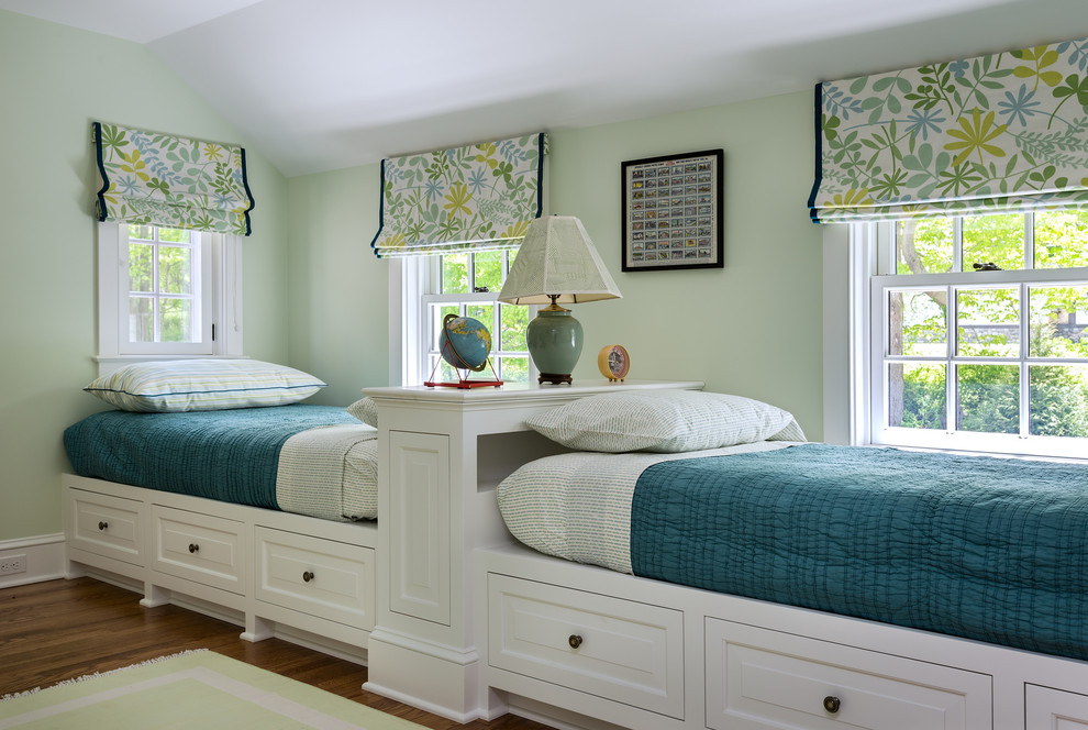 Example of a mid-sized classic gender-neutral medium tone wood floor kids' room design in New York with green walls