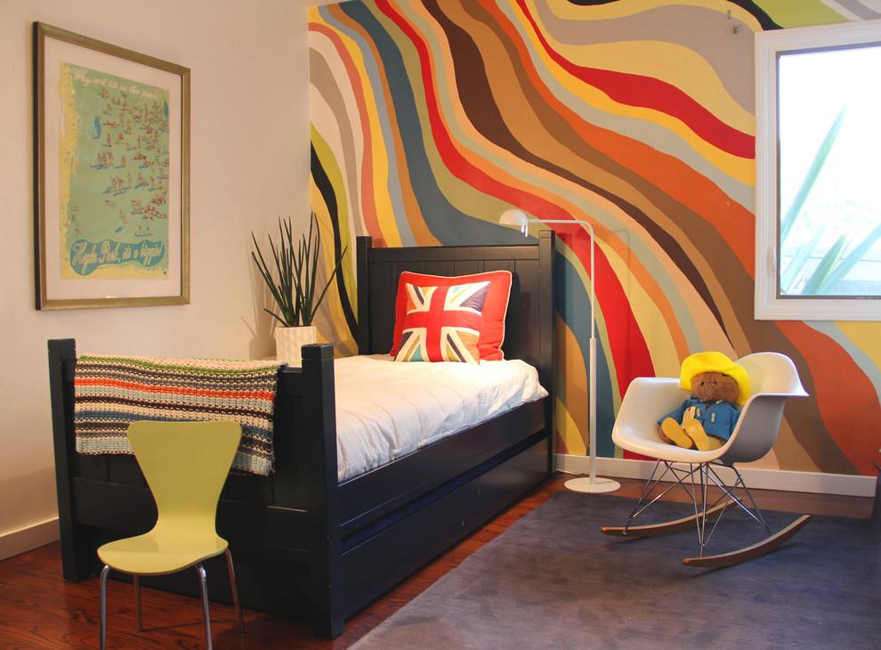 Trendy gender-neutral dark wood floor kids' bedroom photo in Los Angeles