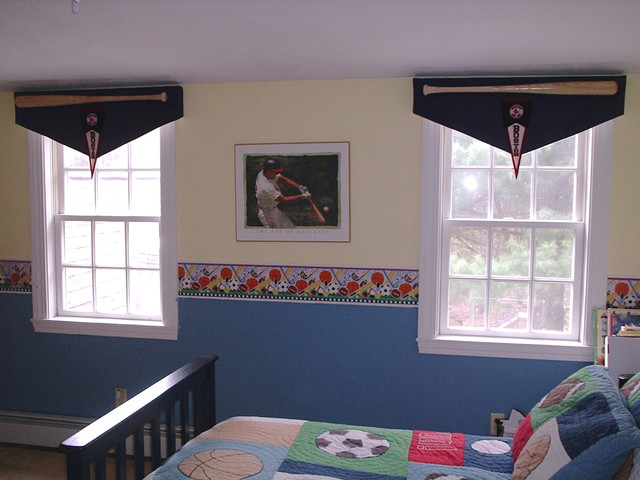 Custom Baseball Bat & Banner Valances traditional kids