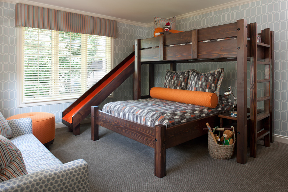 Kids' bedroom - transitional carpeted and gray floor kids' bedroom idea in Detroit with gray walls