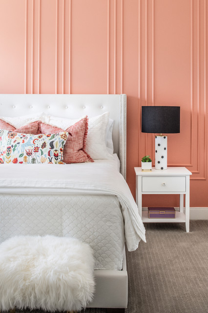 Kids' room - transitional girl carpeted and beige floor kids' room idea in Orlando with pink walls
