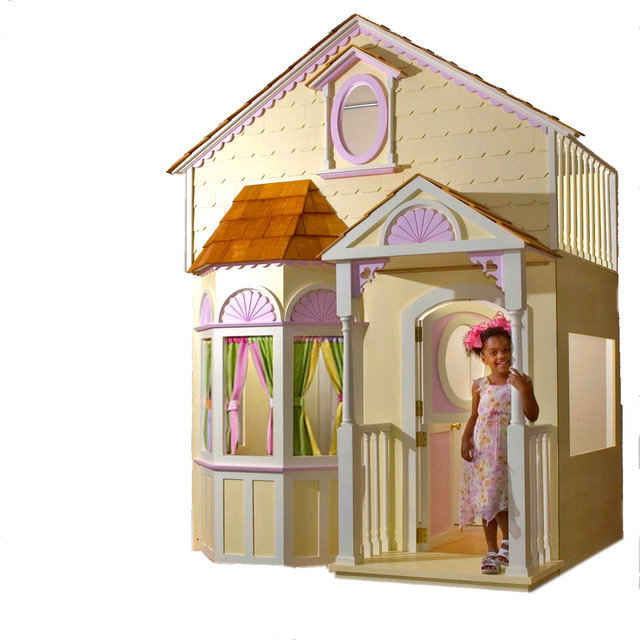 Adorable Full Kids Bedroom Set For Girl Playful Room Huz: Custom Made Girls Doll House Bed With Slide & Staircase