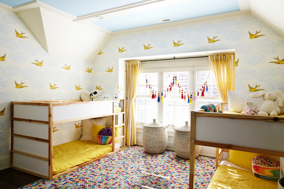 Elegant girl kids' room photo in New York with multicolored walls