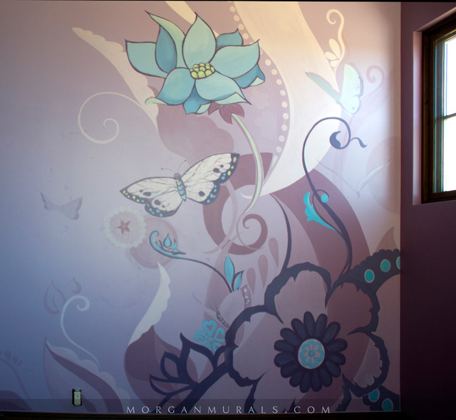 Decorative floral and butterfly wall mural contemporary for Butterfly wall mural