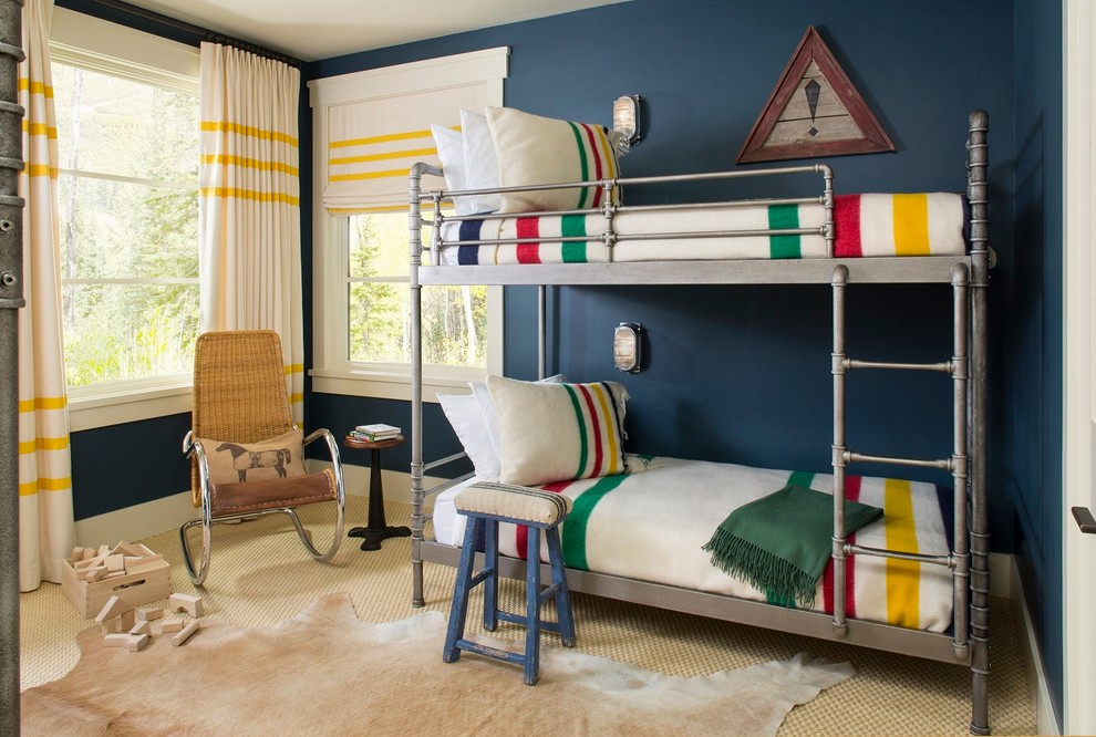 Inspiration for a rustic gender-neutral carpeted kids' bedroom remodel in Seattle with blue walls