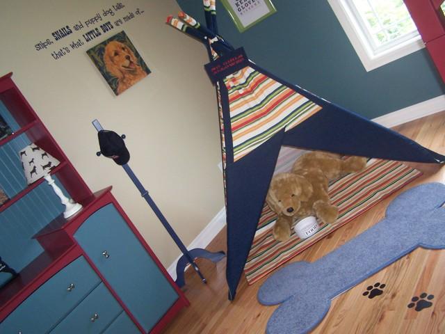 Dog themed boys bedroom with custom teepee traditional for Dog themed bedroom ideas