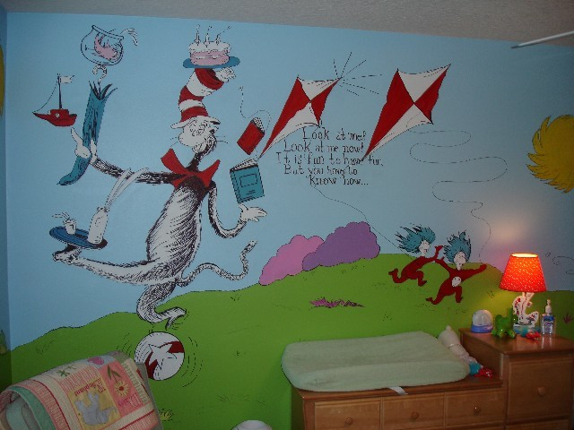 Dr seuss wall to wall storybook mural traditional for Dr seuss wall mural
