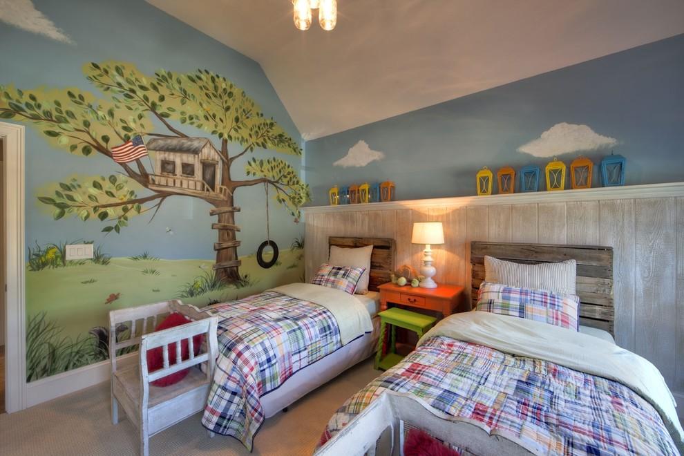 Kids' bedroom - eclectic gender-neutral carpeted kids' bedroom idea in Charlotte