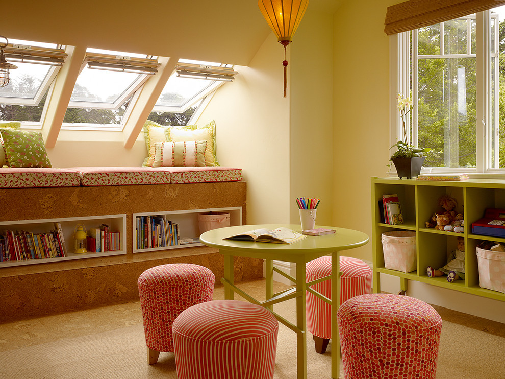 Kids' room - eclectic girl kids' room idea in San Francisco with yellow walls