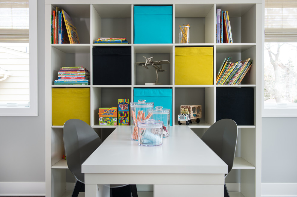 Inspiration for a transitional gender-neutral kids' study room remodel in Minneapolis with gray walls