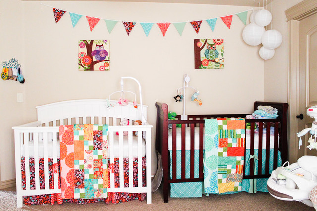 Eclectic Twin Nursery Traditional Kids