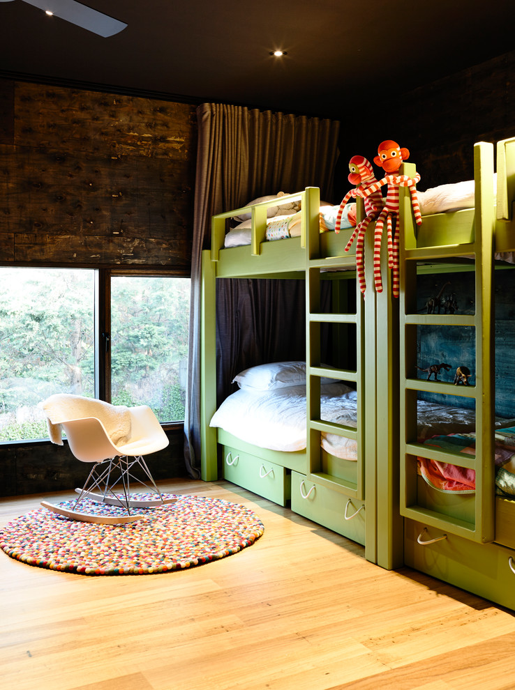 Inspiration for a contemporary gender-neutral medium tone wood floor kids' bedroom remodel with brown walls