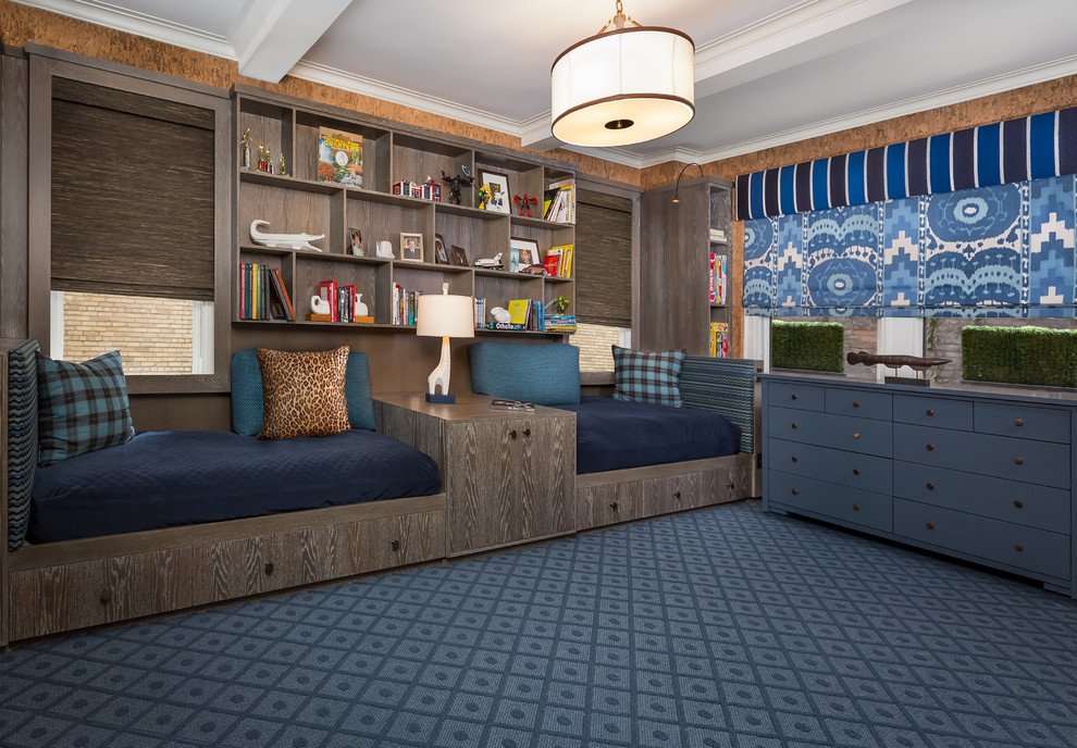 Example of a mid-sized eclectic boy blue floor and carpeted kids' room design in New York with brown walls